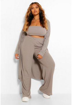 Grey marl grey Plus Rib 3 Piece Duster Co-Ord