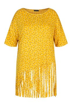 Mustard Plus Ditsy Floral Tassel Beach Dress