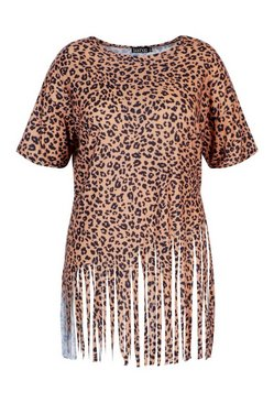 Brown Plus Leopard Tassel Beach Dress