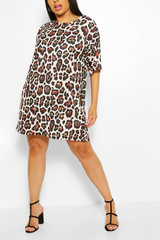 Plus Leopard Print Oversized T-shirt Dress 8