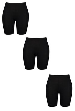 Black Plus 3 Pack Jersey Cycle Short