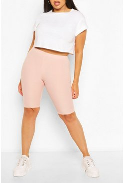 Blush pink Plus Rib Longline Cycle Short