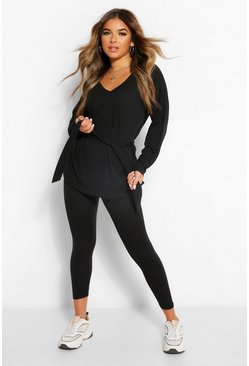 Black Petite Soft Rib Tie Waist Top & Leggings Co-Ord