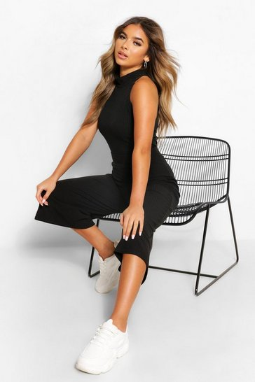 Black Petite Soft Rib Racer Top & Culottes Co-Ord