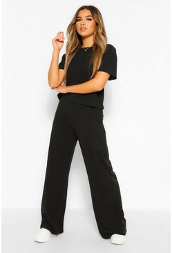 Black Petite Soft Rib T-Shirt & Wide Leg Trouser Co-Ord