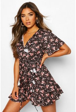Black Petite Ditsy Floral Wrap Tea Dress