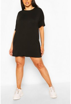 Black Plus Basic Jersey Oversized T-Shirt Dress
