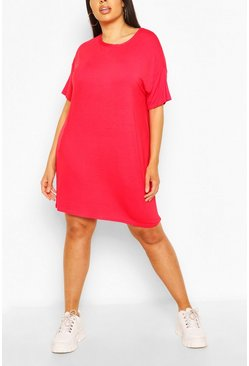 Robe T-Shirt coupe oversize basique en jersey Plus, Rouge