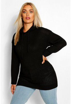 Black Plus Knitted Hooded Tunic