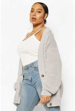 Grey Plus Oversized Button Through Cardigan