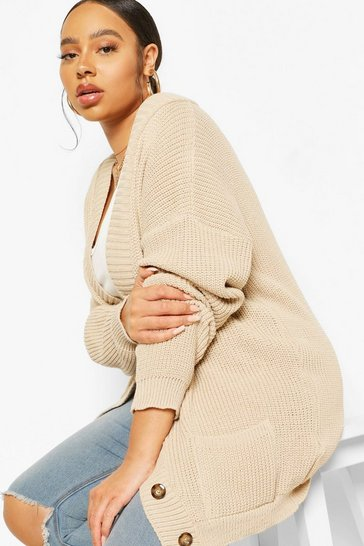Stone beige Plus Oversized Button Through Cardigan