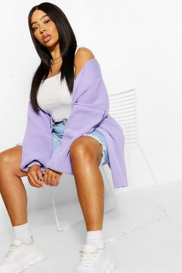 Lilac purple Plus Balloon Sleeve Longline Cardigan