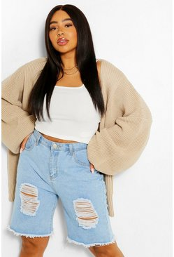 Stone beige Plus Balloon Sleeve Longline Cardigan