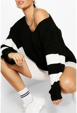 Black Plus V Neck Stripe Jumper