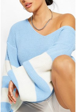 Blue Plus V Neck Stripe Sweater
