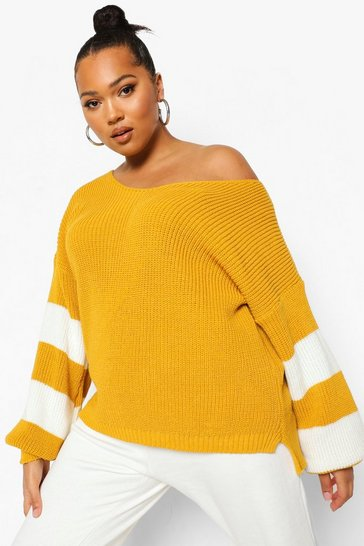 Mustard yellow Plus V Neck Stripe Jumper