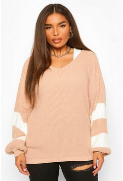 Nude Plus V Neck Stripe Jumper
