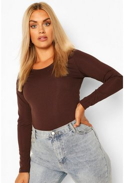 Chocolate brown Plus Scoop Neck Knitted Bodysuit