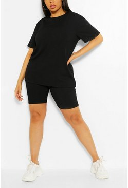 Black Plus Rib T-Shirt And Cycle Short Co-Ord