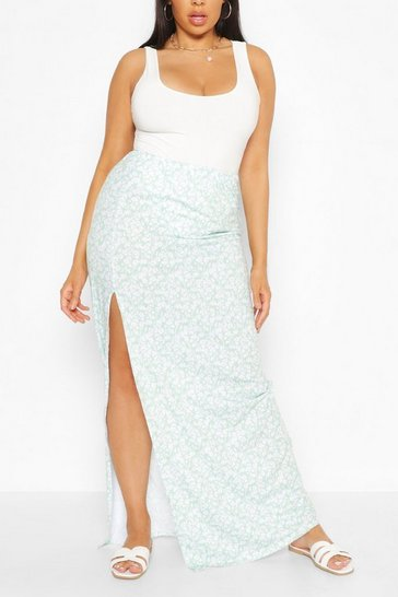 Sage Plus Ditsy Floral Side Split Maxi Skirt