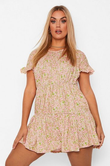Blush Plus Woven Tiered Ruffle Smock Dress