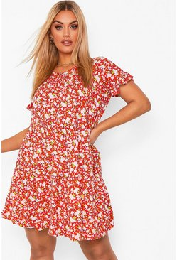 Red Plus Ditsy Floral Tiered Ruffle Smock Dress