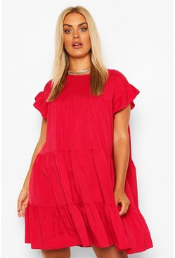 Berry red Plus Tiered Ruffle Smock Dress