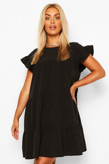 Black Plus Tiered Ruffle Smock Dress