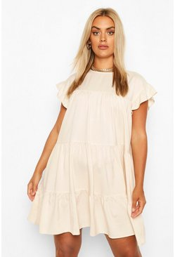 Stone beige Plus Tiered Ruffle Smock Dress