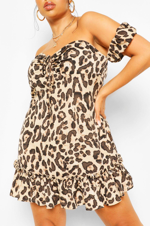 Plus Leopard Off the Shoulder Skater Dress 6