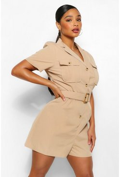 Beige Plus Utility Belted Playsuit