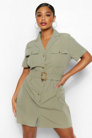 Khaki Plus Utility Belted Playsuit