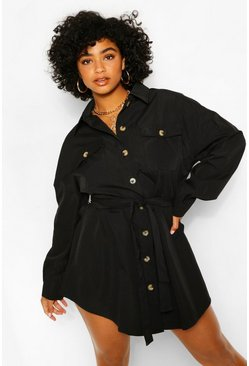 Black Plus Utility Tie Waist Shirt Dress