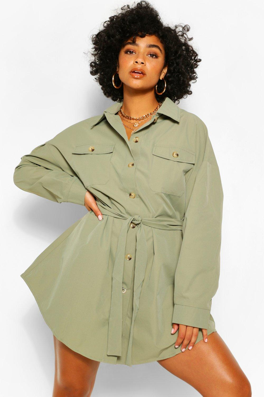 Plus Utility Tie Waist Shirt Dress 6