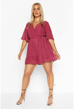 Berry red Plus Satin Stripe Ruffle Playsuit