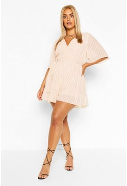 Champagne beige Plus Satin Stripe Ruffle Playsuit
