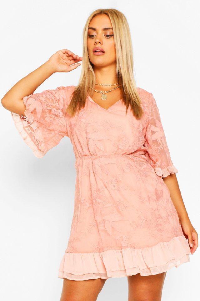 Plus Lace Ruffle Chiffon Wide Sleeve Skater Dress 7