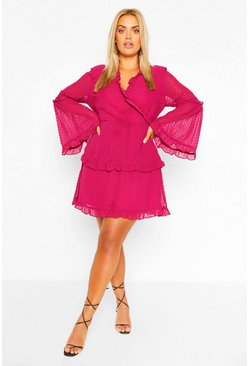 Berry red Plus Dobby Chiffon Wide Sleeve Wrap Dress