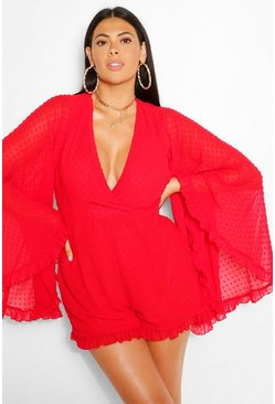 Red Plus Dobby Chiffon Wide Sleeve Playsuit