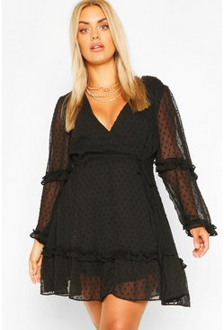 Black Plus Dobby Chiffon Ruffle Skater Dress