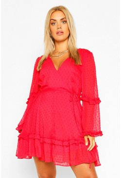 Red Plus Dobby Chiffon Ruffle Skater Dress