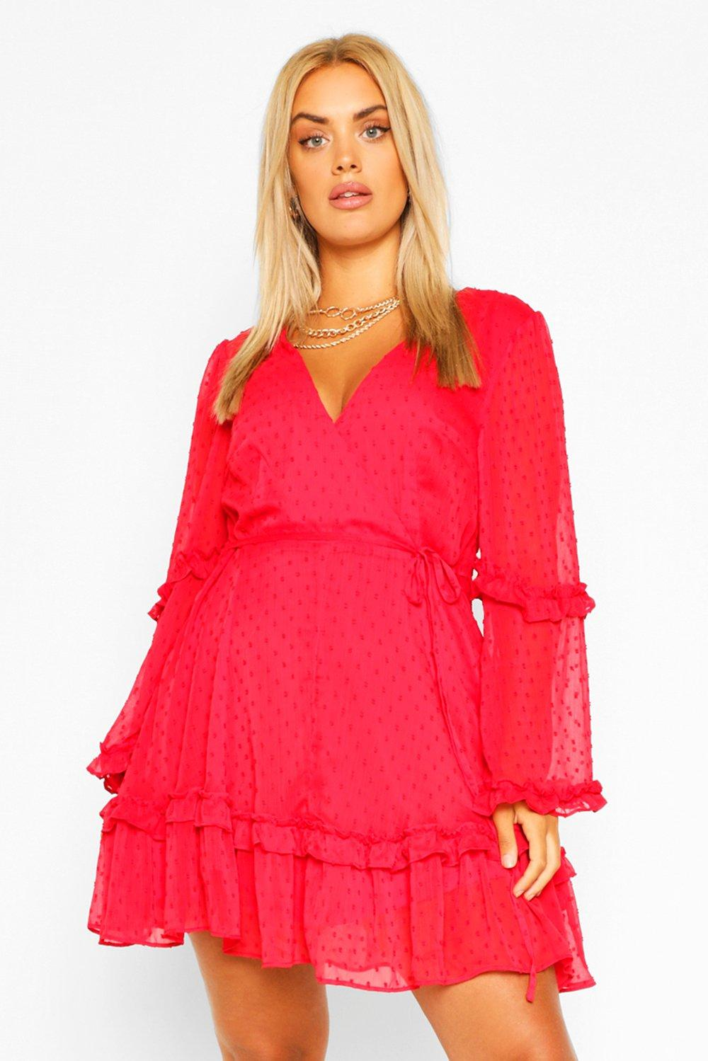 Plus Dobby Chiffon Ruffle Skater Dress 2