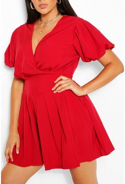 Berry Plus Ruched Ruffle Skater Dress