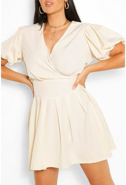 Stone beige Plus Ruched Ruffle Skater Dress