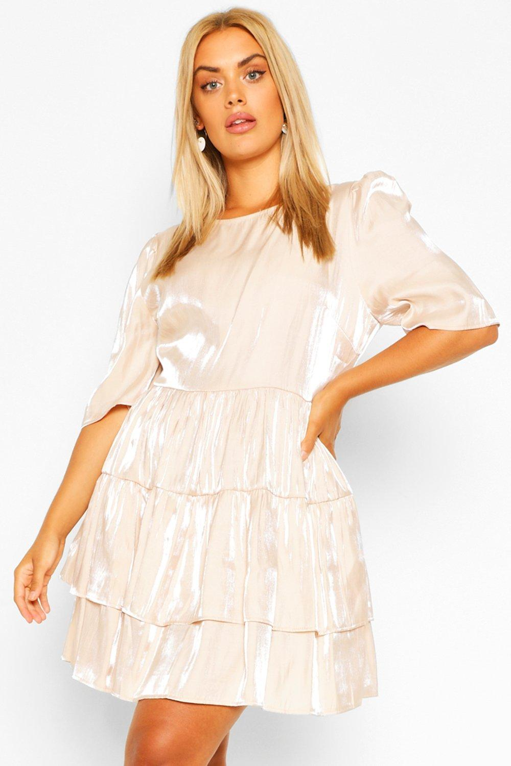 Plus Satin Ruched Ruffle Skater Dress 7