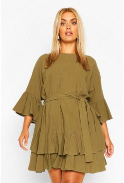 Khaki Plus Cotton Ruffle Tie Waist Smock Dress