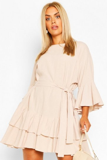 Stone Plus Cotton Ruffle Tie Waist Smock Dress