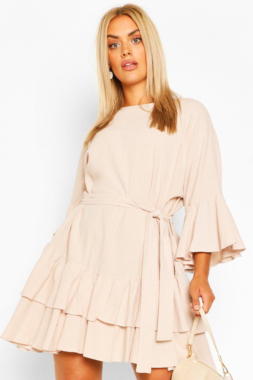Plus Cotton Ruffle Tie Waist Smock Dress 2