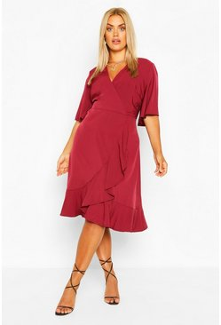 Berry Plus Woven Ruffle Wrap Dress