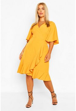 Mustard yellow Plus Woven Ruffle Wrap Dress